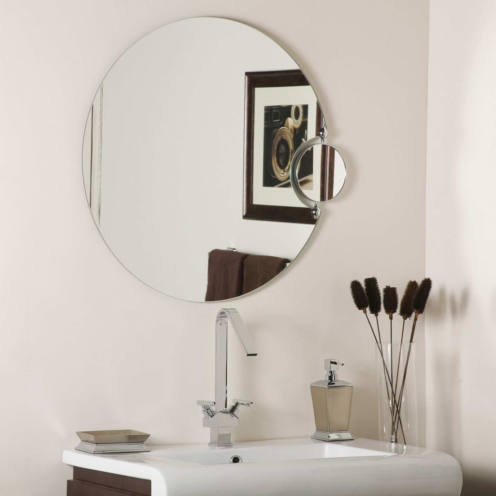 Round Bathroom Mirrors Round Bathroom Mirror With Side In Logan Frameless Wall Mirrors (Image 15 of 20)