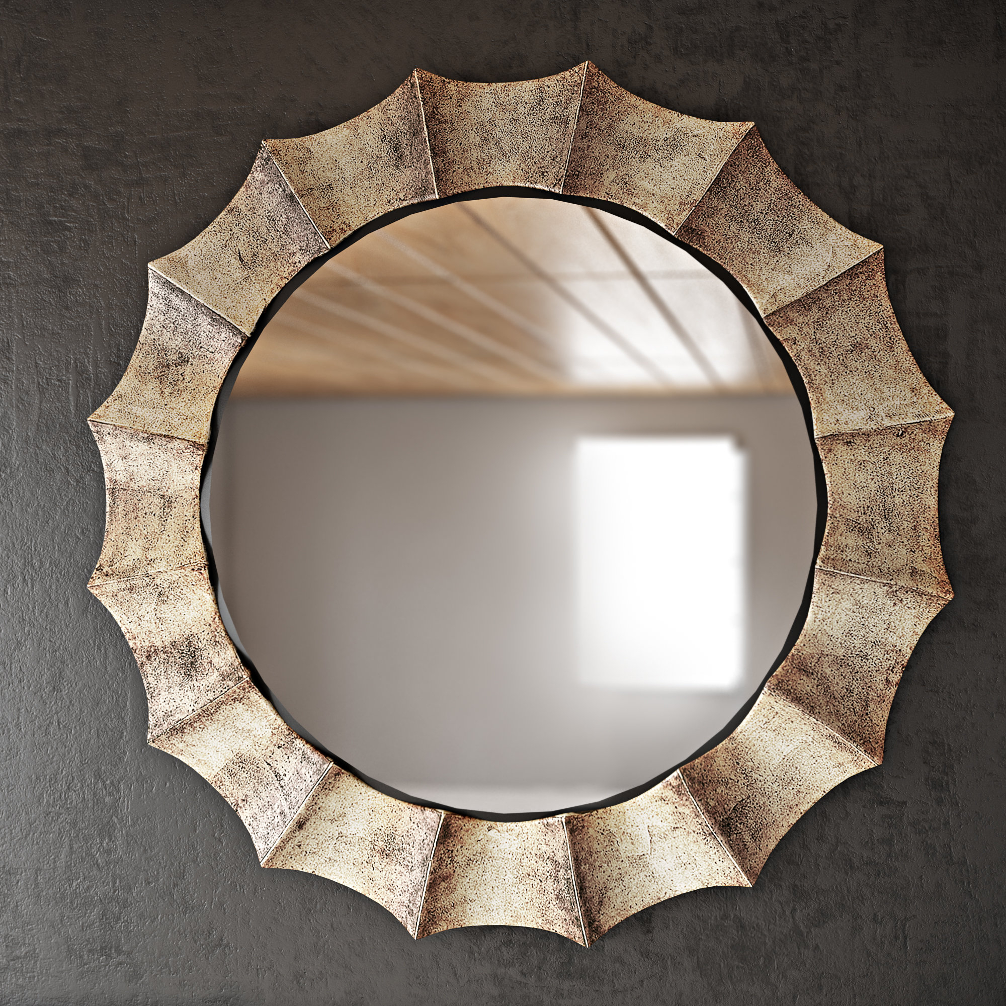Round Crystal Wall Mirror | Wayfair (Image 10 of 20)