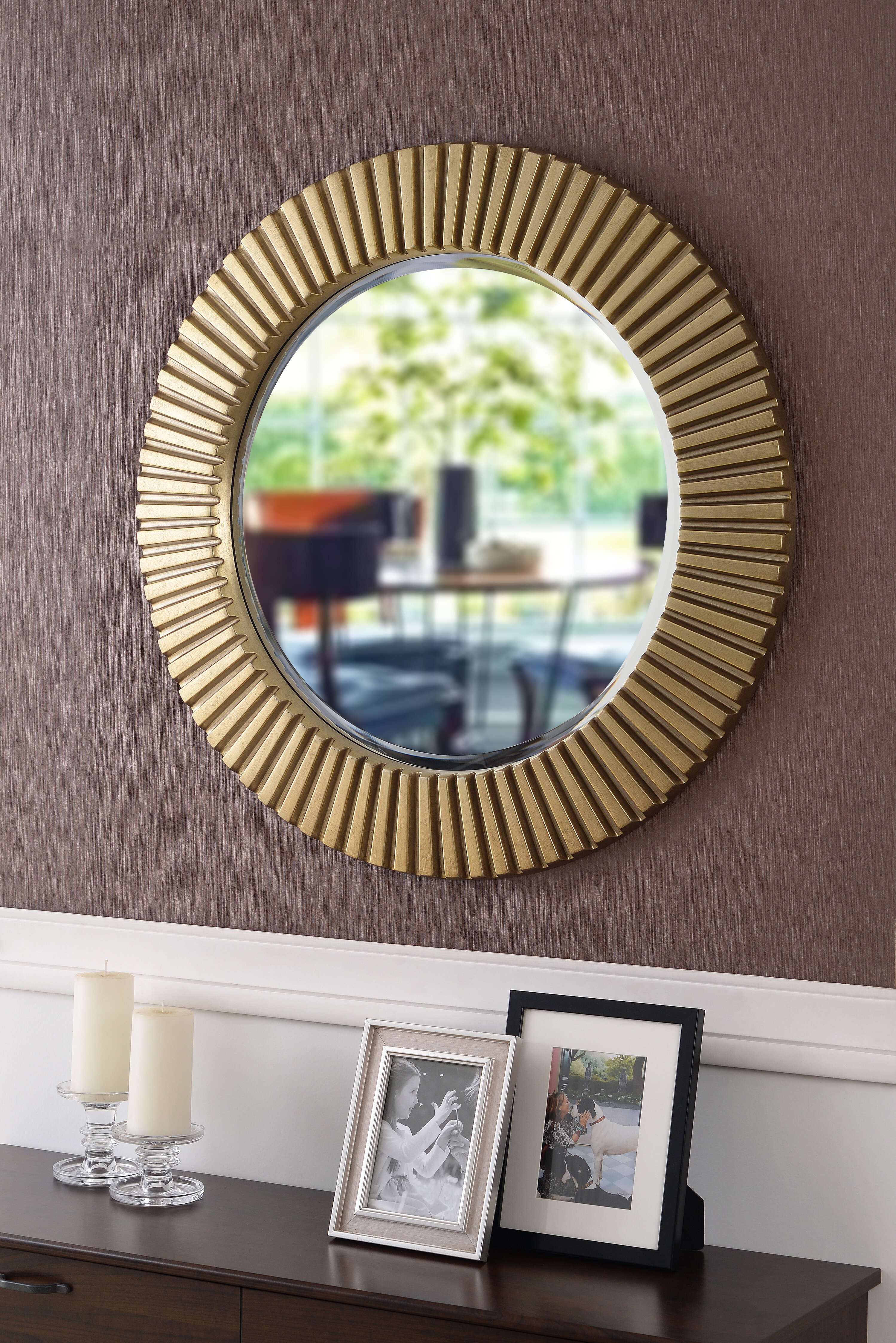 Round Eclectic Accent Mirror In Karn Vertical Round Resin Wall Mirrors (View 3 of 20)
