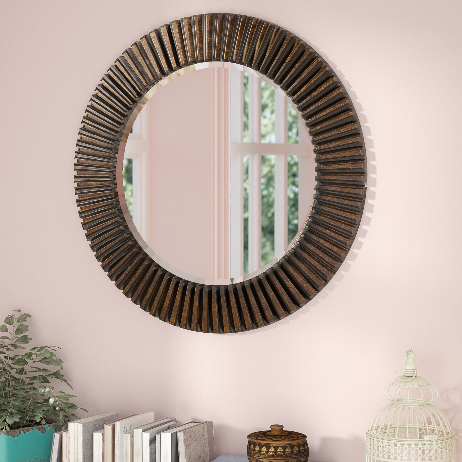 Round Eclectic Accent Mirror Pertaining To Point Reyes Molten Round Wall Mirrors (Image 13 of 20)