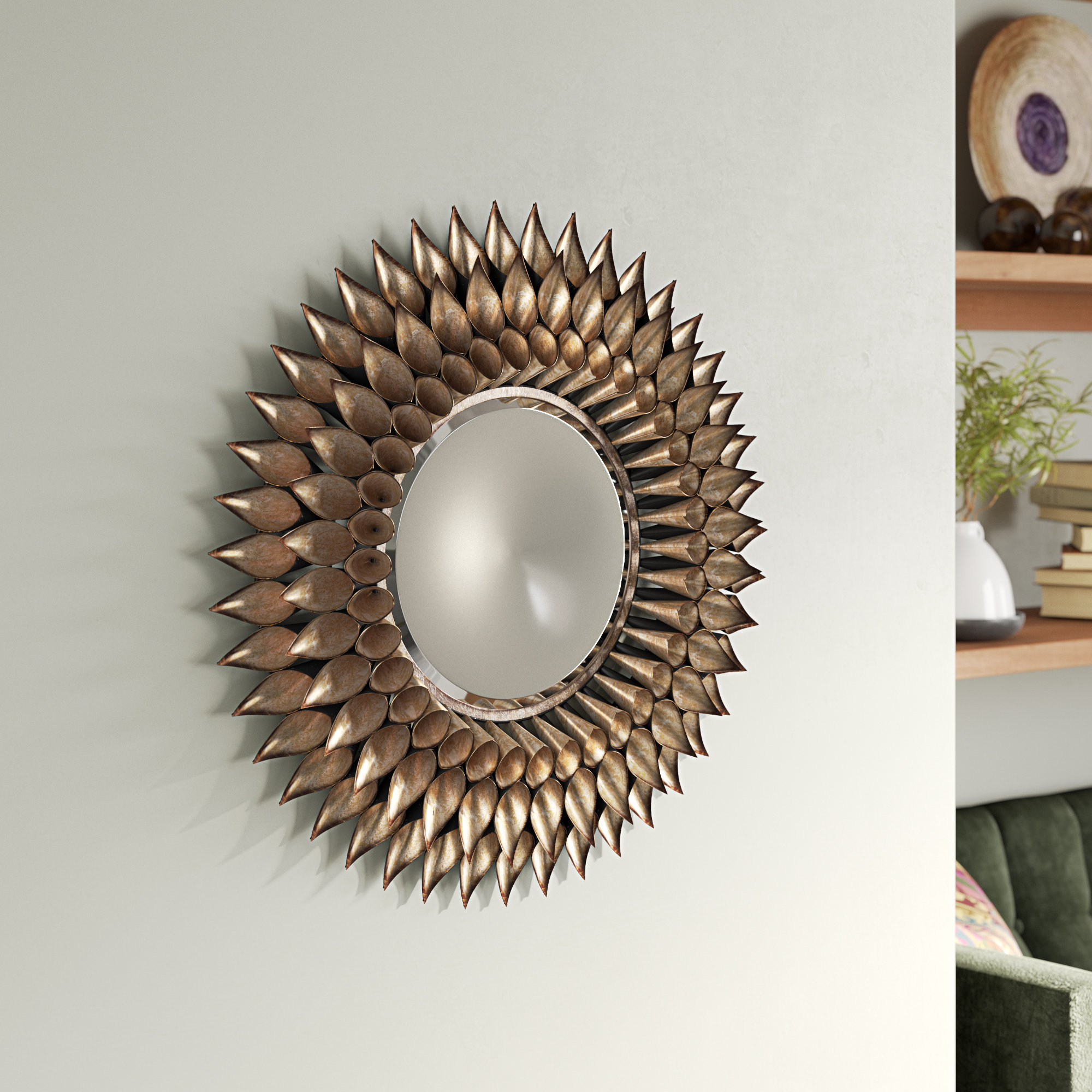 Round Galvanized And Weathered Silver Decorative Wall Mirror Intended For Karn Vertical Round Resin Wall Mirrors (View 9 of 20)