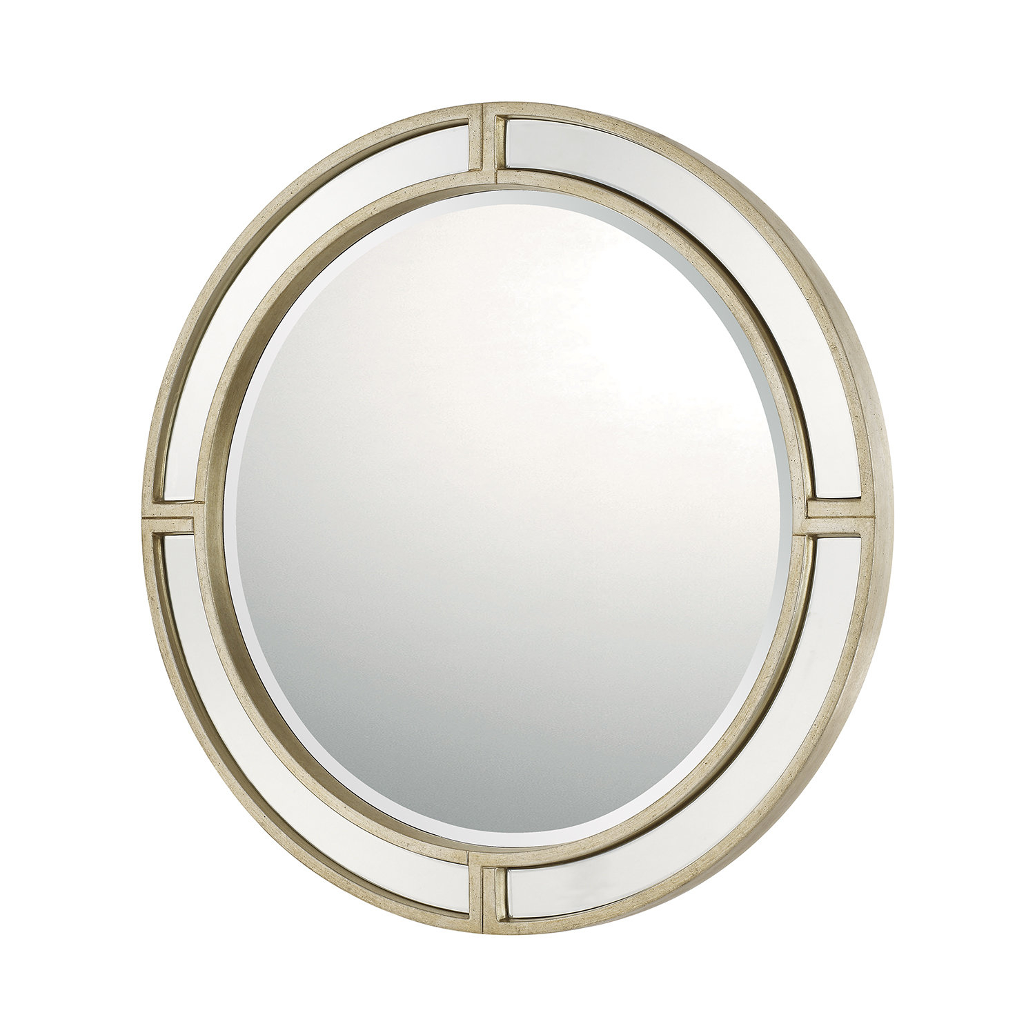 Round Glam Decorative Accent Wall Mirror Inside Pfister Oval Wood Wall Mirrors (Image 20 of 20)