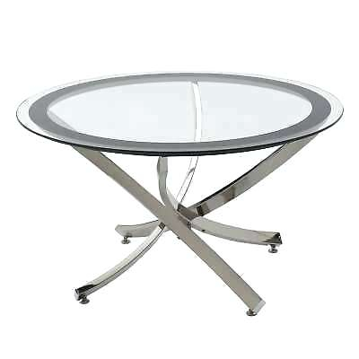 Round Glass And Chrome Coffee Table – Cursodetarot Regarding Coaster Company Silver Glass Coffee Tables (Image 21 of 25)
