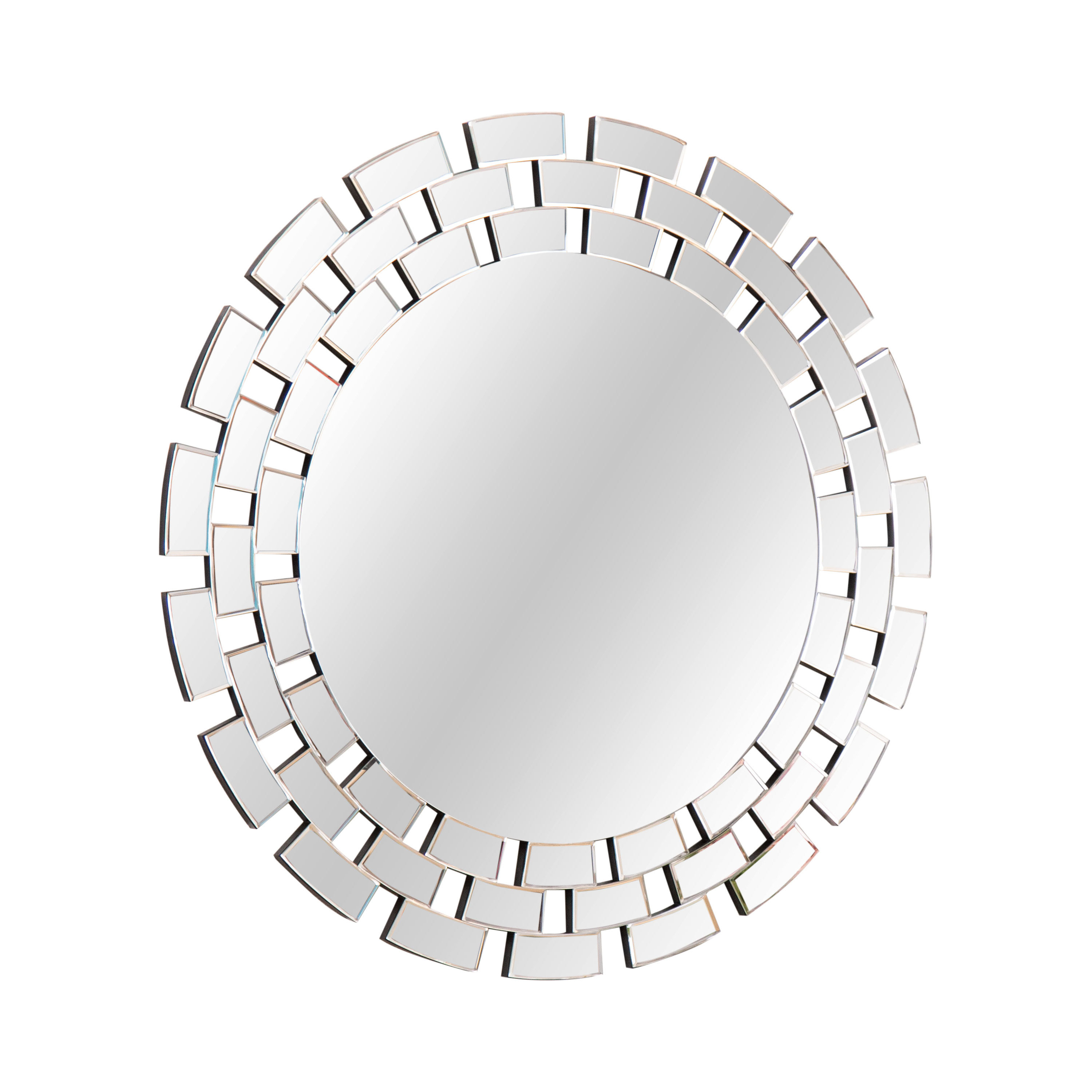 Round Glass Wall Accent Mirror In Tata Openwork Round Wall Mirrors (Image 9 of 20)