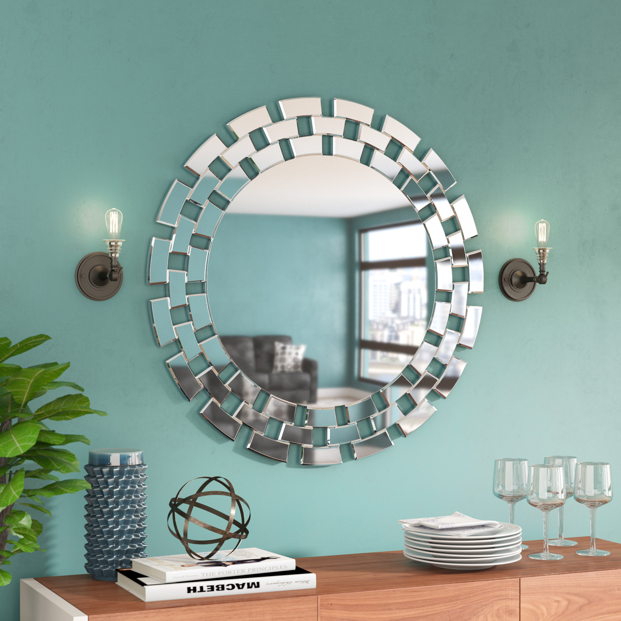 Round Glass Wall Accent Mirror With Tata Openwork Round Wall Mirrors (Image 10 of 20)