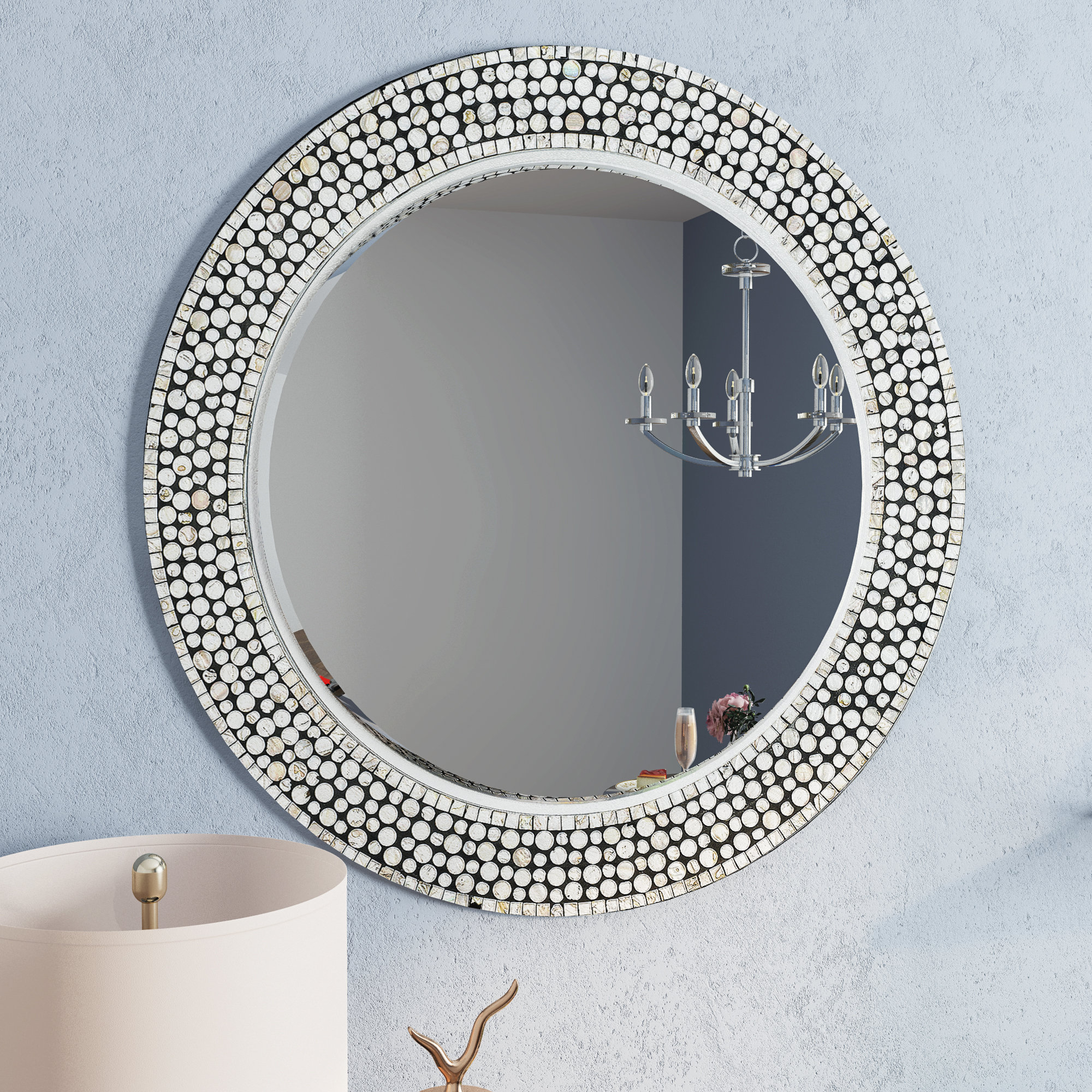 Round Gray Decorative Wall Mirror Pertaining To Point Reyes Molten Round Wall Mirrors (Image 14 of 20)