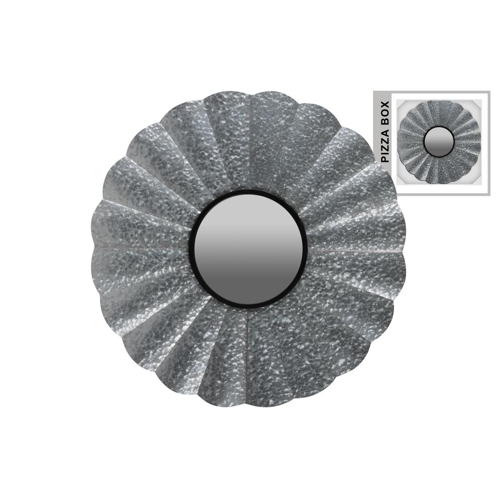 Round Gray Galvanized Wall Mirror Within Round Galvanized Metallic Wall Mirrors (View 17 of 20)