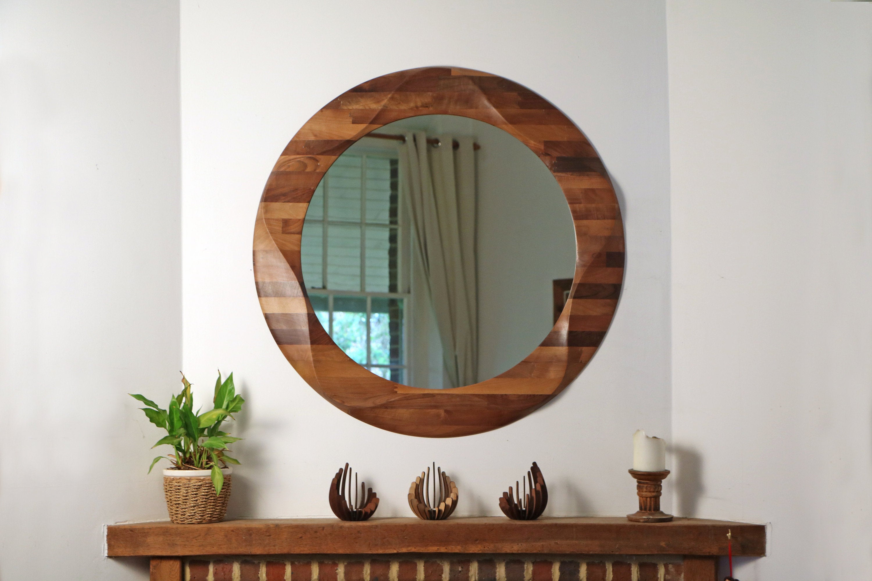 Round Mirror, Large Decorative Round Wooden Wall Mirror, Wooden Mirror  Wall, Circular Wall Hanging Mirror Made From Solid Walnut Wood (View 8 of 20)