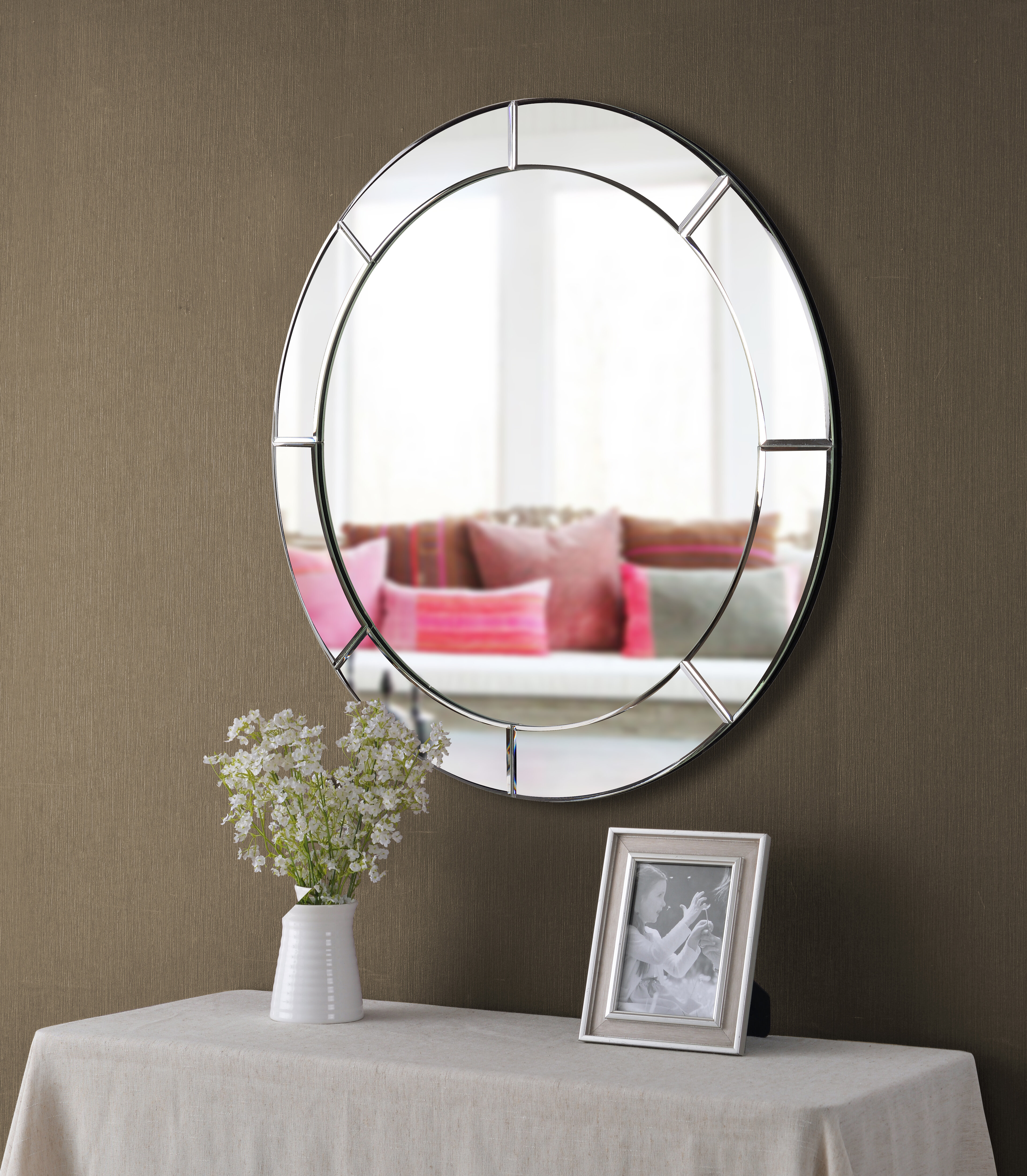 Round Mirror With Chain | Wayfair Pertaining To Matthias Round Accent Mirrors (Image 16 of 20)