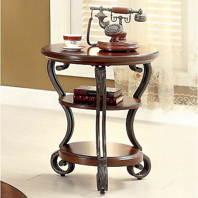 Round Oval Wood Side Table Curved Scrolled Metal Legs 2 Shelves ~ Cherry Finish Within Cohler Traditional Brown Cherry Oval Coffee Tables (View 9 of 25)