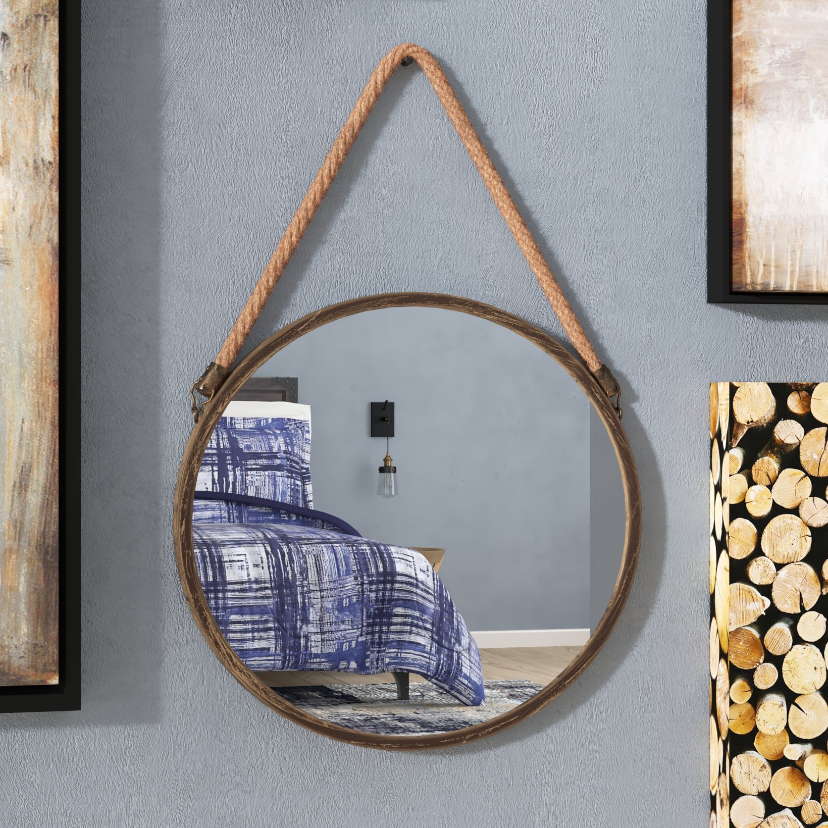 Round Reclaimed Wood Mirror | Wayfair In Perillo Burst Wood Accent Mirrors (View 16 of 20)