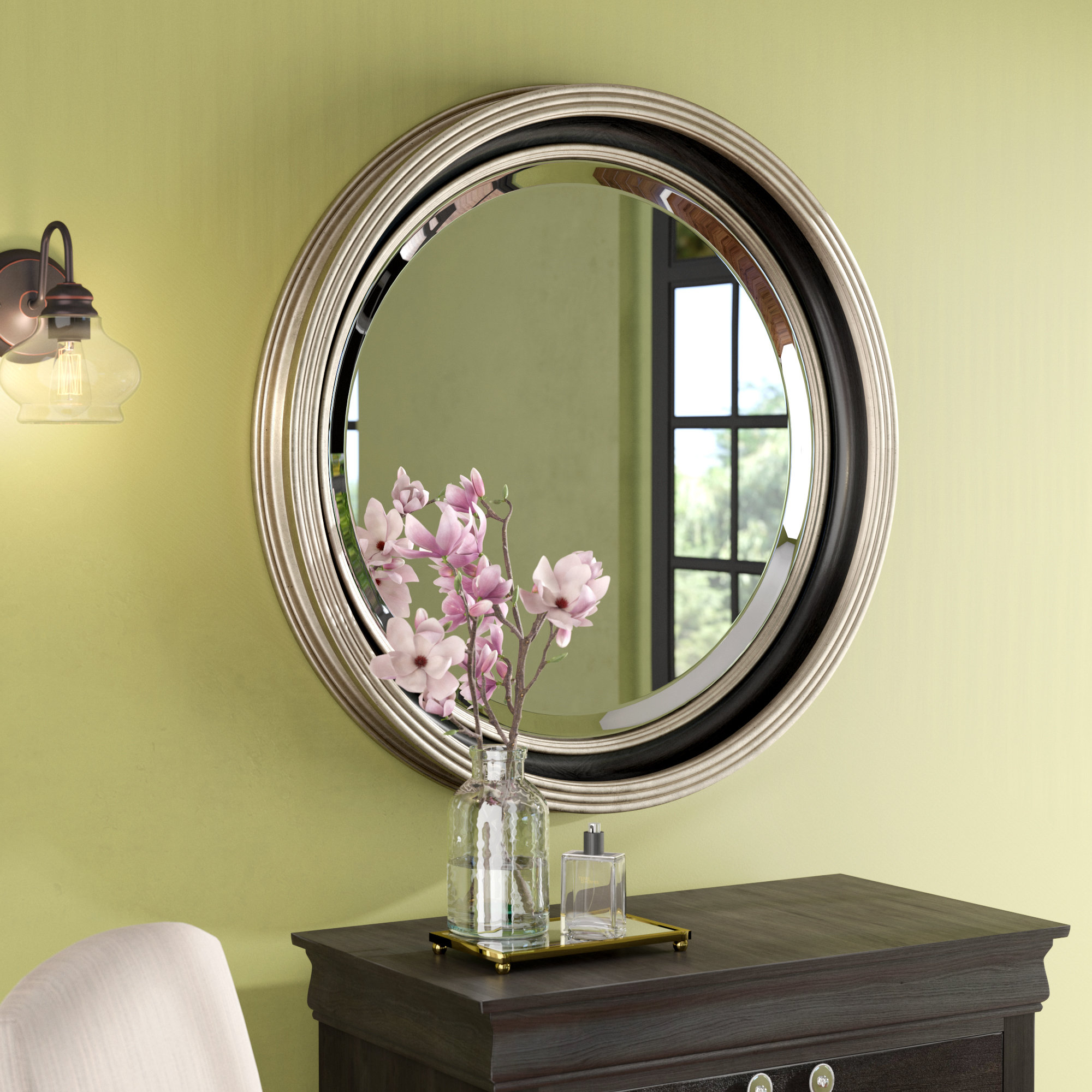 Round Silver Leaf Accent Mirror Intended For Charters Towers Accent Mirrors (View 15 of 20)