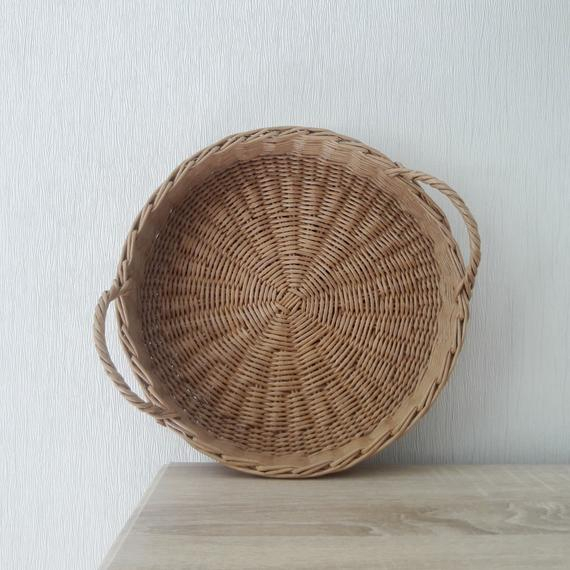 Round Storage Basket Hand Woven Wicker Tray With Handles Desk Organizer  Coffee Table Tray 12 Inch Rustic Serving Tray Farmhouse Decor Beige Regarding Rustic Coffee Tables With Wicker Storage Baskets (Image 14 of 25)