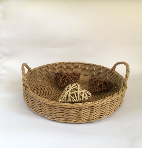 Round Storage Basket Hand Woven Wicker Tray With Handles Pertaining To Rustic Coffee Tables With Wicker Storage Baskets (Image 15 of 25)
