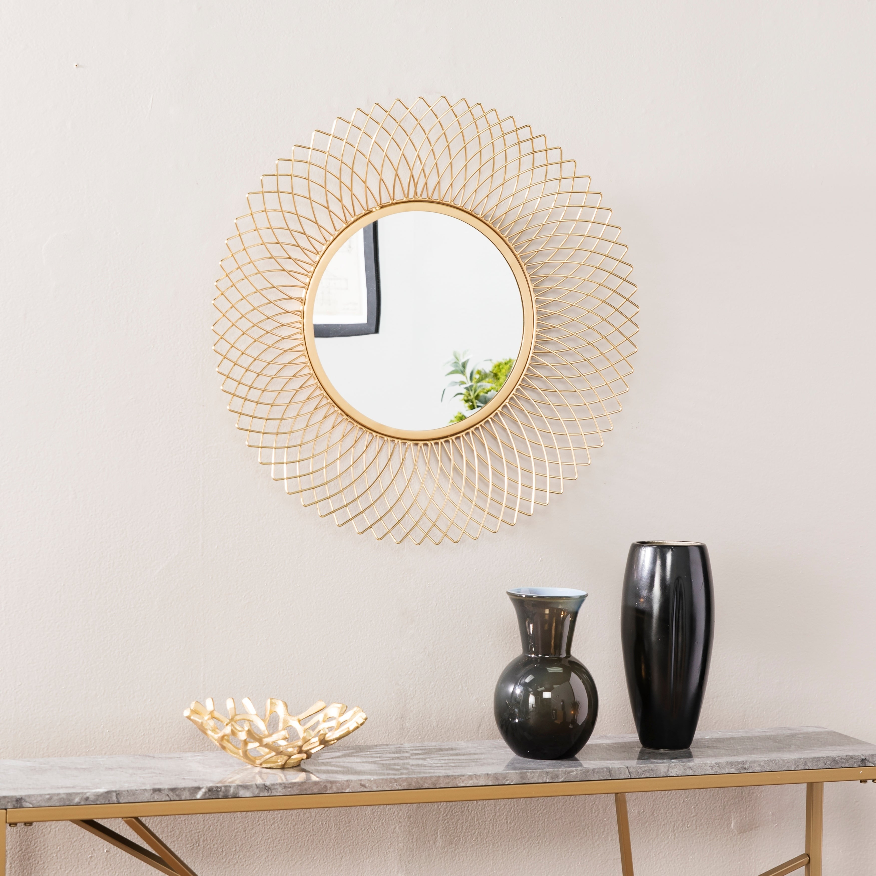 Round, Transitional Mirrors | Shop Online At Overstock Within Orion Starburst Wall Mirrors (Image 12 of 20)