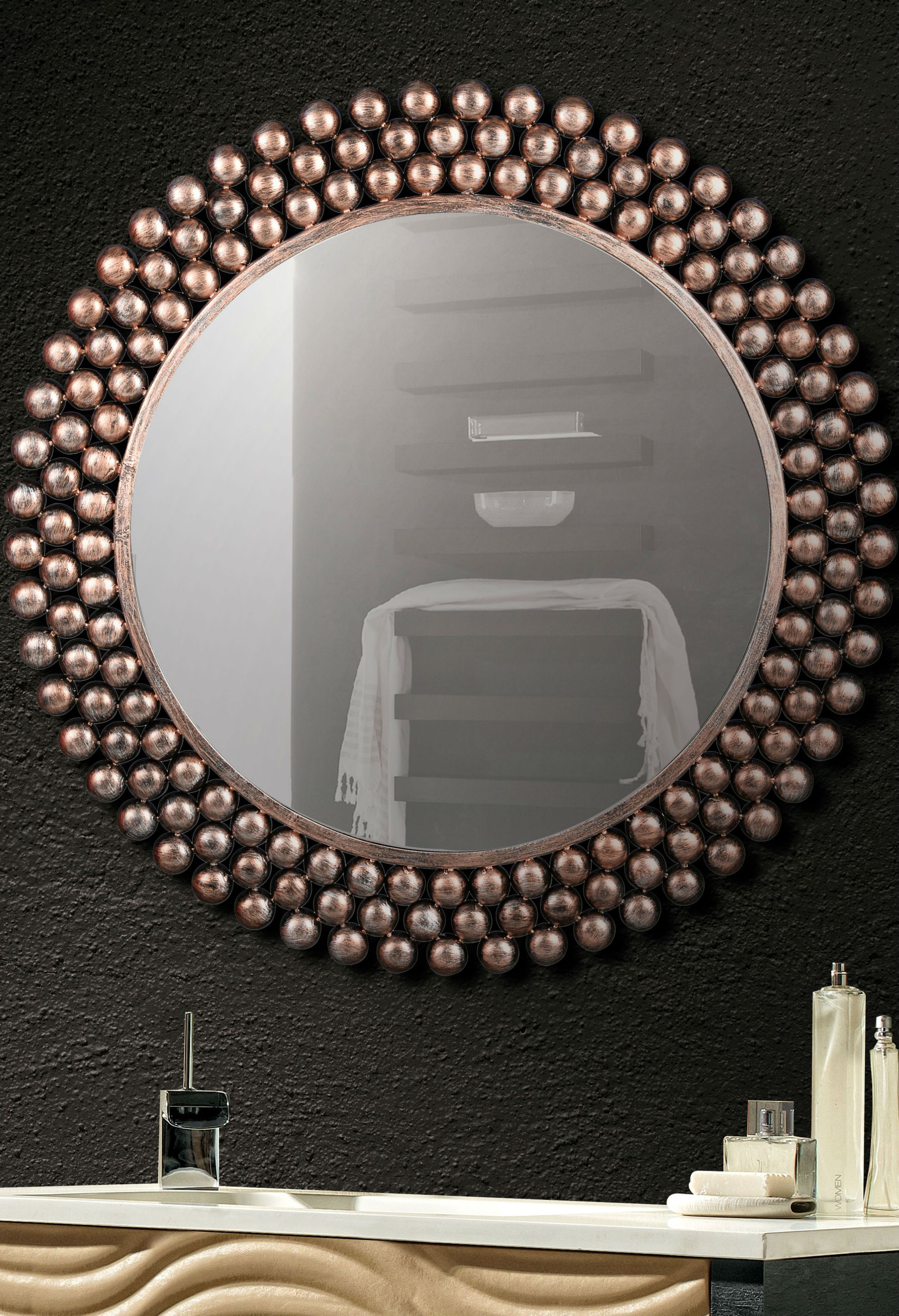 Round Wall Mirror With Copper Frame | Home Decor | Copper Pertaining To Round Eclectic Accent Mirrors (Image 16 of 20)