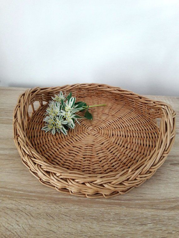 Round Wicker Tray With Handles, Coffee Table Tray | Products Pertaining To Rustic Coffee Tables With Wicker Storage Baskets (Image 16 of 25)