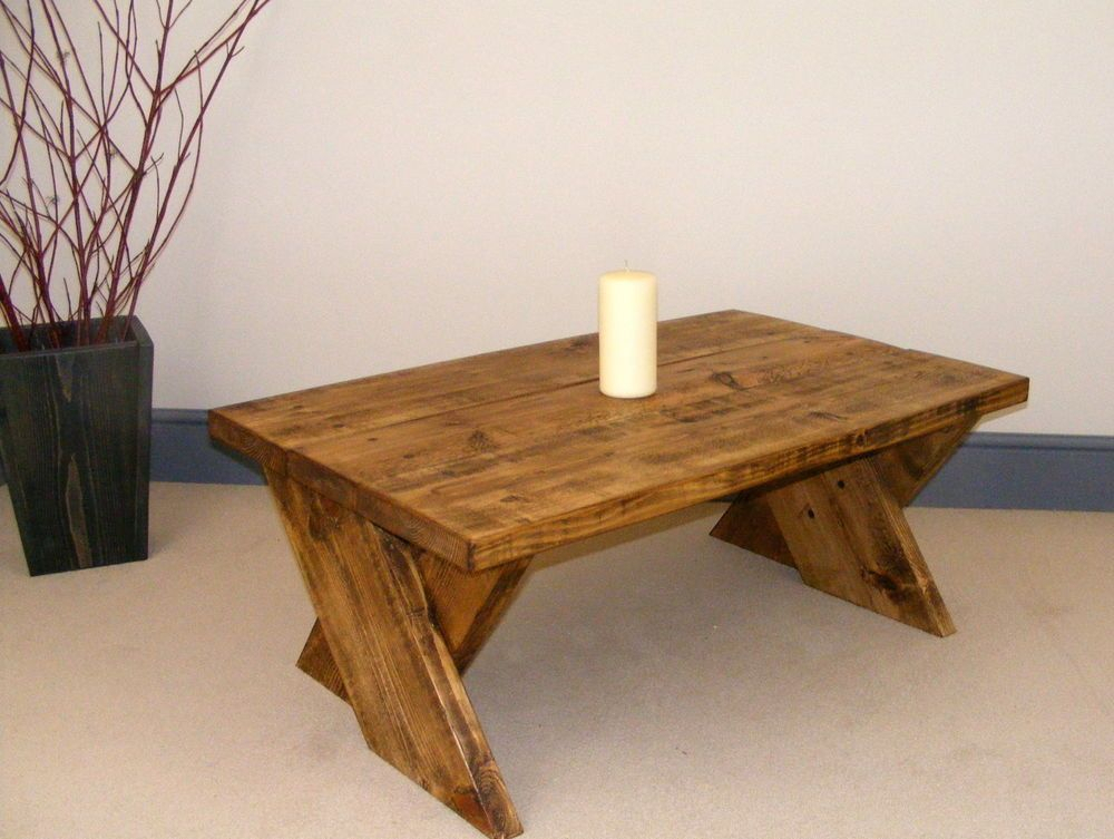 Rustic Chunky Coffee Table Tv Stand 400 High Handmade Cross Throughout Handmade Whitewashed Stripped Wood Tables (Image 17 of 25)