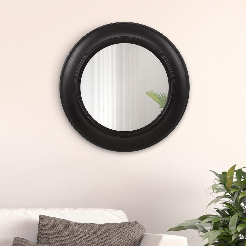Rustic Distressed Black Round Wall Mirror In 2019 | Products In Burnes Oval Traditional Wall Mirrors (Image 18 of 20)