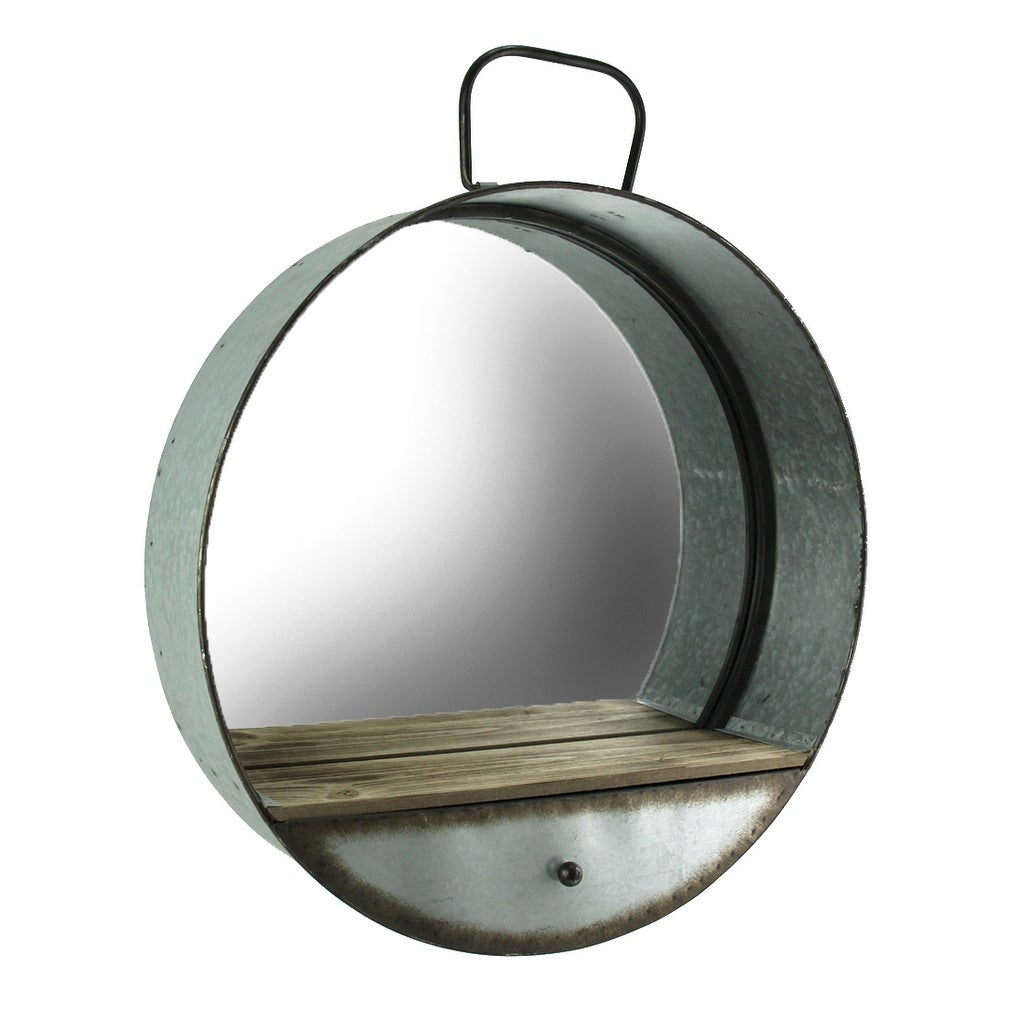 Rustic Galvanized Metal Tub Frame Round Wall Mirror With Drawer – Gray – 20.5 X (View 3 of 20)