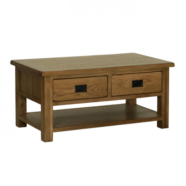 Rustic Oak Coffee Table With Drawers For Rustic Oak Coffee Tables (Image 18 of 25)