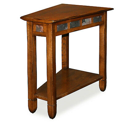Rustic Oak Wedge End Table Sofa Side Plant Lamp Stand Shelf Slate Accent Decor With Copper Grove Ixia Rustic Oak And Slate Tile Coffee Tables (View 19 of 25)