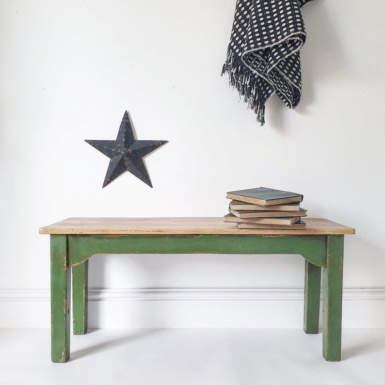 Rustic Shabby Chic Painted Farmhouse 1930's Oak Bench Coffee Table Seating With Regard To Handmade Whitewashed Stripped Wood Tables (Image 18 of 25)