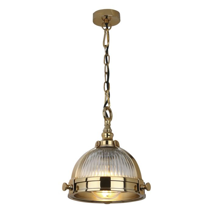Ryker 1Lt Pendant Brass & Ribbed Glass Pertaining To Ryker 1 Light Single Dome Pendants (View 19 of 25)