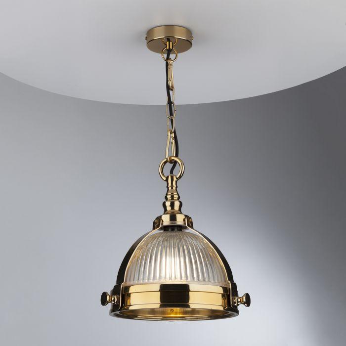 Ryker 1Lt Pendant Brass & Ribbed Glass Regarding Ryker 1 Light Single Dome Pendants (View 24 of 25)