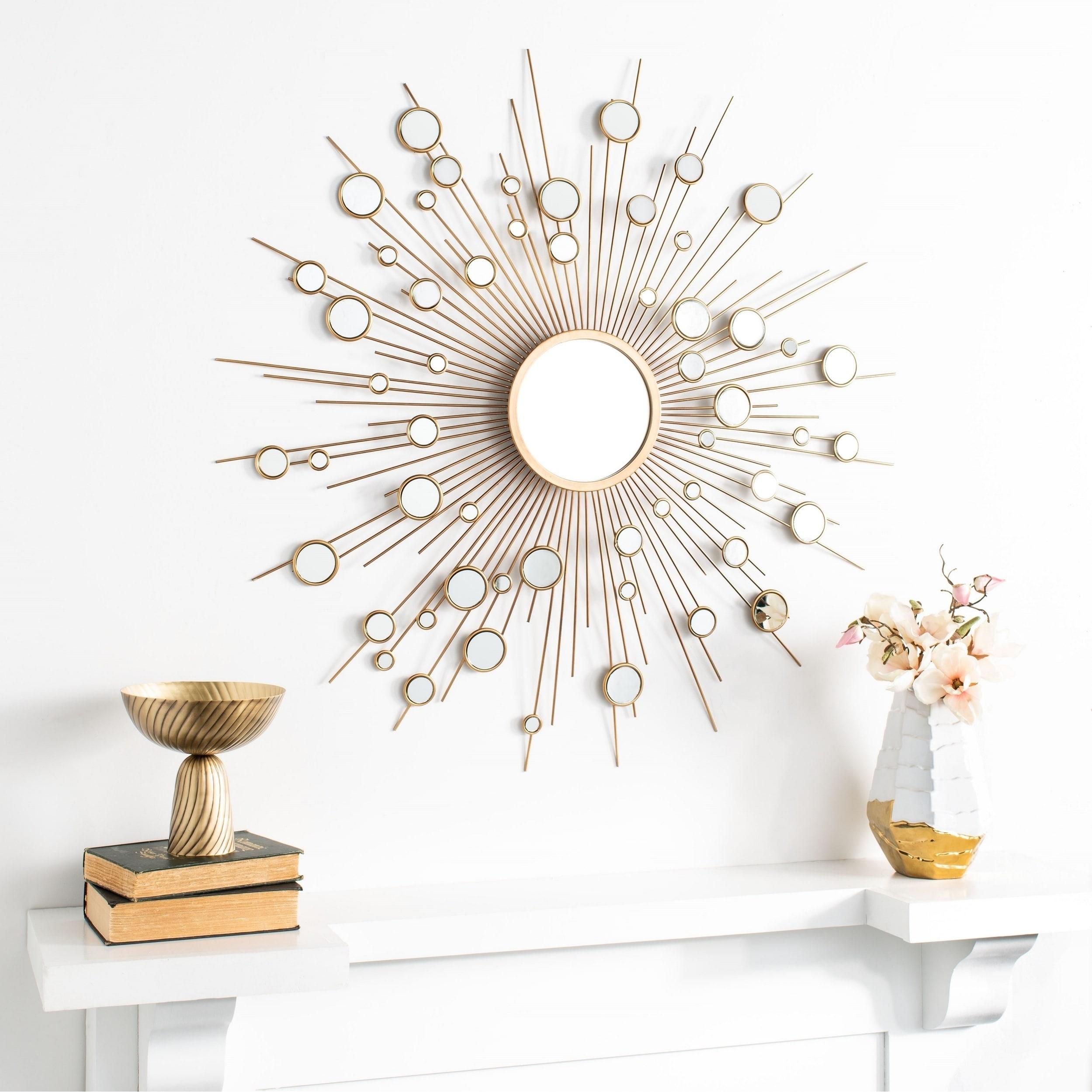 "Safavieh 41"" Ariah Sunburst Mirror – Gold – 41"" X 2"" X 41 Inside Estrela Modern Sunburst Metal Wall Mirrors (View 12 of 20)"