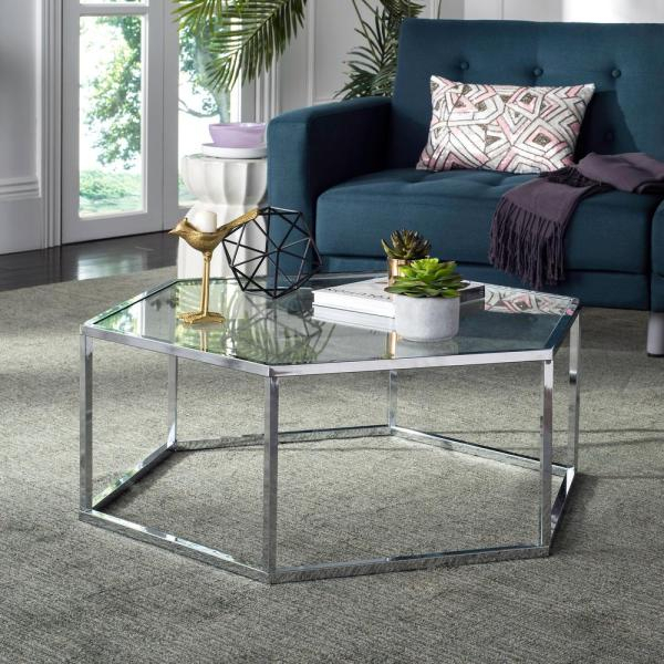 Safavieh Eliana Glass/chrome Coffee Table Mmt6003A – The With Regard To Safavieh Malone White Chrome Coffee Tables (View 14 of 25)