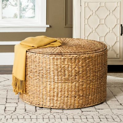 Safavieh Jesse Wicker Storage Coffee Table In Natural In Within Rustic Coffee Tables With Wicker Storage Baskets (Image 18 of 25)