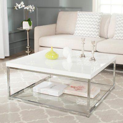 Safavieh Malone Chrome High Gloss Coffee Table With Safavieh Malone White Chrome Coffee Tables (View 5 of 25)
