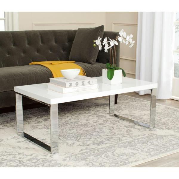 Safavieh Rockford White Coffee Table Fox2215A – The Home Depot Regarding Safavieh Malone White Chrome Coffee Tables (View 8 of 25)