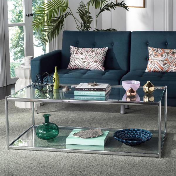 Safavieh Zola Glass/chrome Coffee Table Mmt6000A – The Home Pertaining To Safavieh Malone White Chrome Coffee Tables (View 10 of 25)