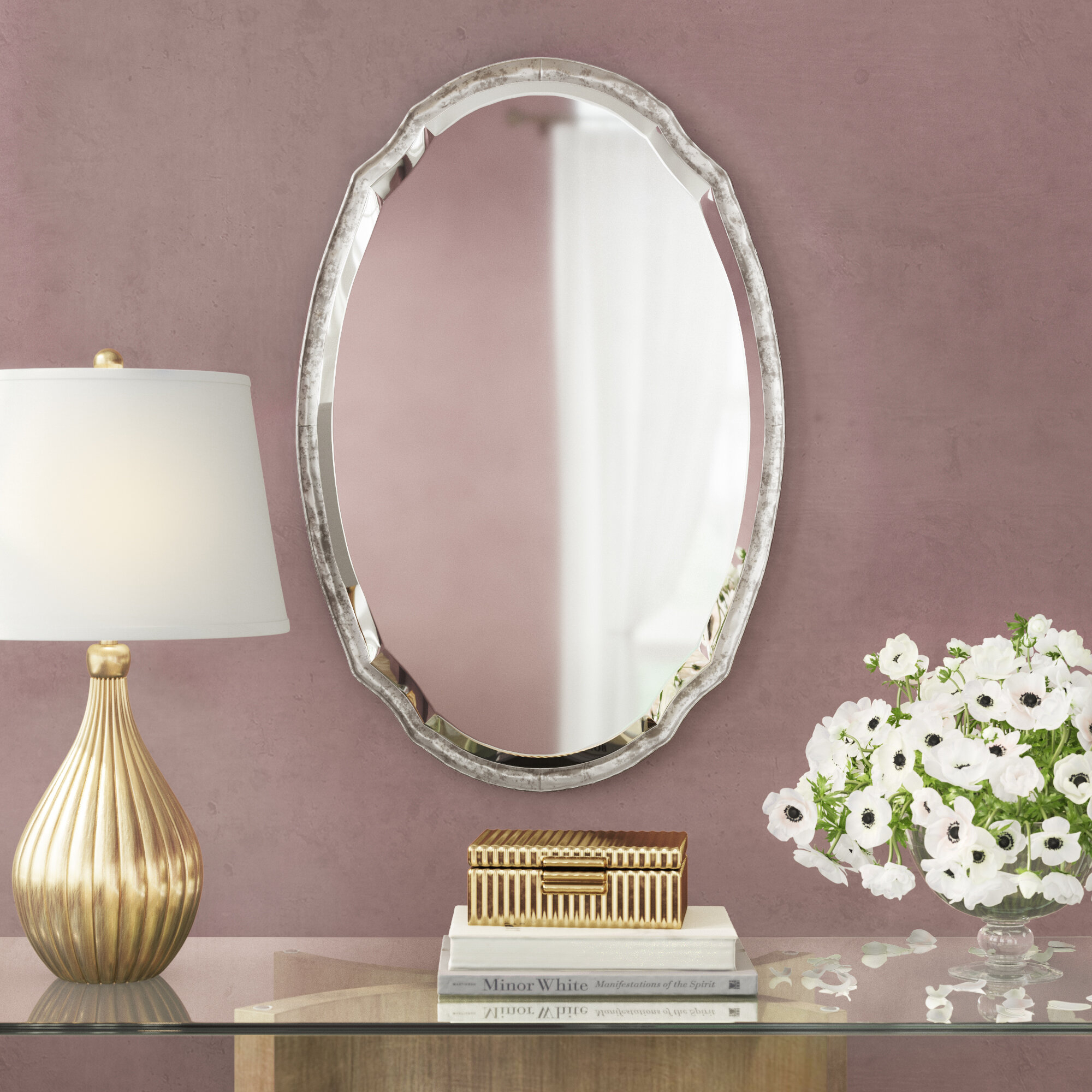 Scalloped Mirror | Wayfair Pertaining To Reign Frameless Oval Scalloped Beveled Wall Mirrors (Image 18 of 20)