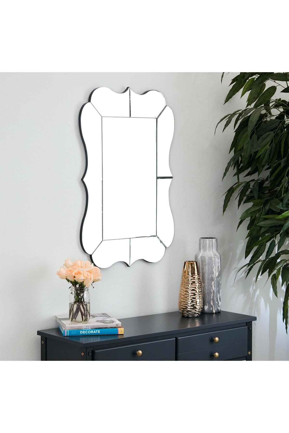 Scalloped Wall Mirror Scalloped Corner Wall Mirror Scalloped Throughout Reign Frameless Oval Scalloped Beveled Wall Mirrors (Image 20 of 20)