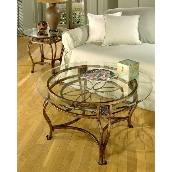 Scottsdale Collection Bronze Finish Glass Top Cocktail Table With Gracewood Hollow Fishta Antique Brass Metal Glass 3 Piece Tables (View 14 of 25)