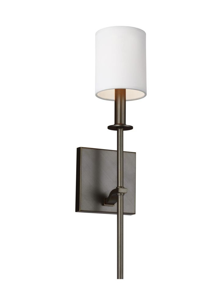 Sea Gull Lighting Wb1873Anbz Hewitt 1 Light Wall Sconce In Antique Bronze With Square White Paper Shade For Hewitt 4 Light Square Chandeliers (View 17 of 20)