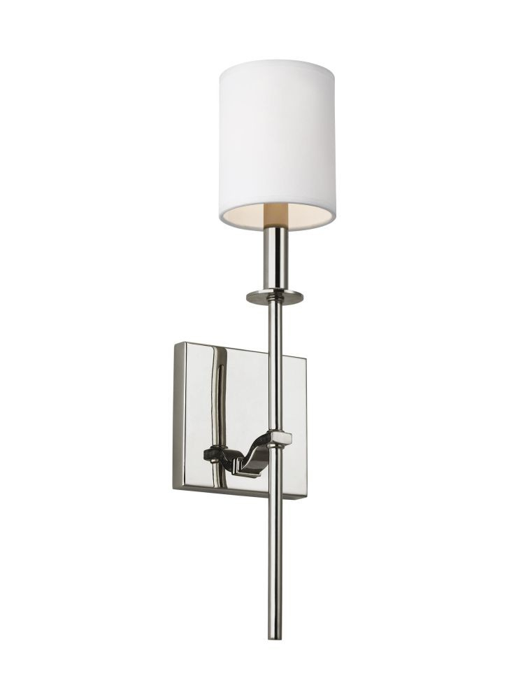 Sea Gull Lighting Wb1873Pn Hewitt 1 Light Wall Sconce In Polished Nickel With Square White Paper Shade Intended For Hewitt 4 Light Square Chandeliers (View 9 of 20)