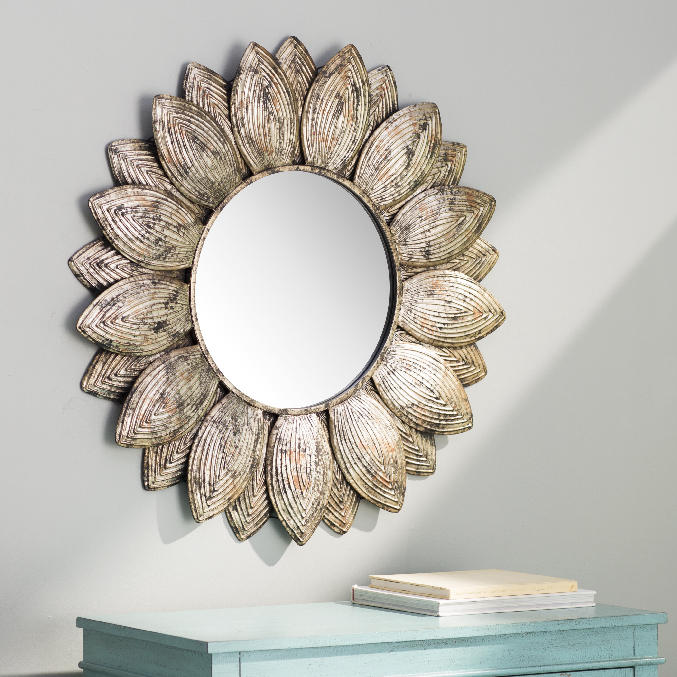 Seema Eclectic Beveled Wall Mirror Regarding Round Eclectic Accent Mirrors (Image 17 of 20)