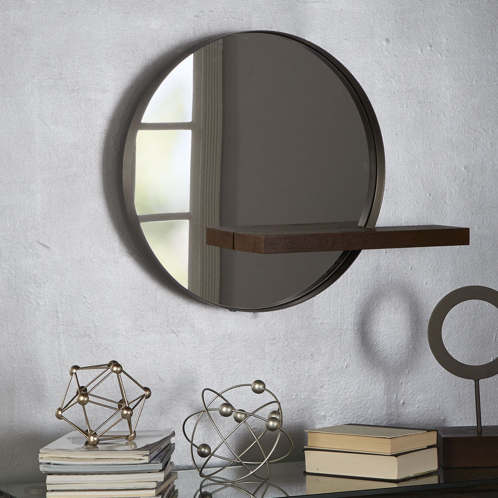 Seibert Round With Shelves Accent Mirror Inside Yatendra Cottage/country Beveled Accent Mirrors (View 20 of 20)