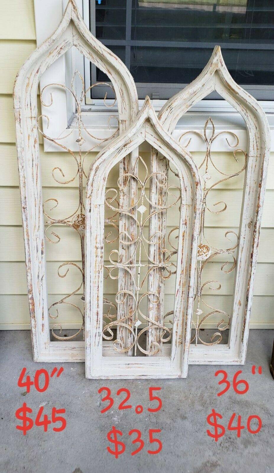 Set 3 Cream Gothic Wood Metal Window Frames Arch Farmhouse Wall Church  Window Regarding Window Cream Wood Wall Mirrors (Image 16 of 20)