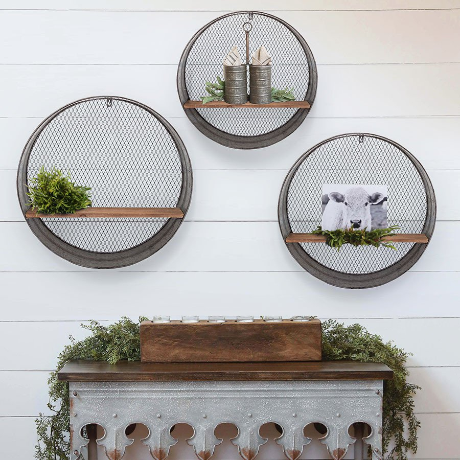 Set Of Shelves, Shelf, Set Of 3, Three, Galvanized Metal For Round Galvanized Metallic Wall Mirrors (View 16 of 20)