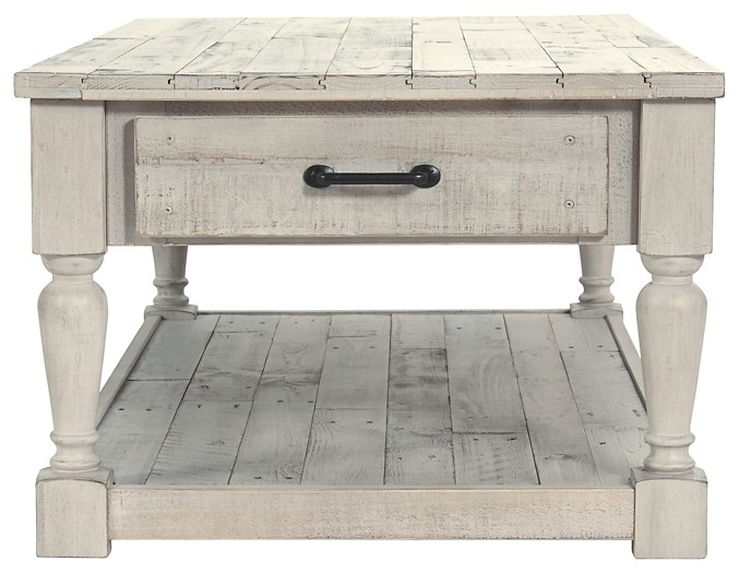 Shawnalore – White Wash – Rectangular Cocktail Table Regarding Sawyer Industrial Reclaimed Rectangular Cocktail Tables (View 19 of 50)