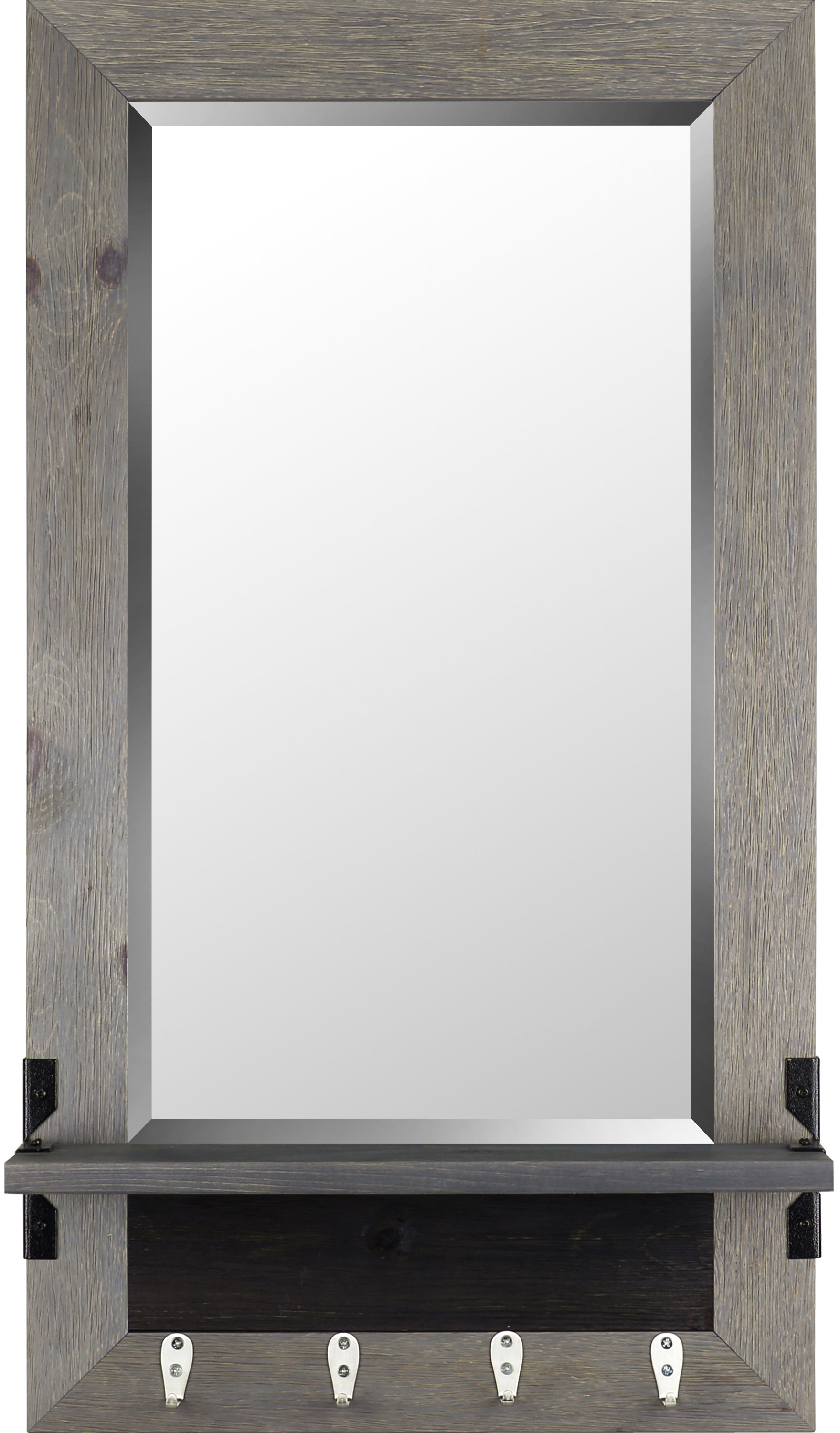 Shelf Wood Modern & Contemporary Beveled Shelves Accent Mirror Within Hallas Wall Organizer Mirrors (Image 18 of 20)