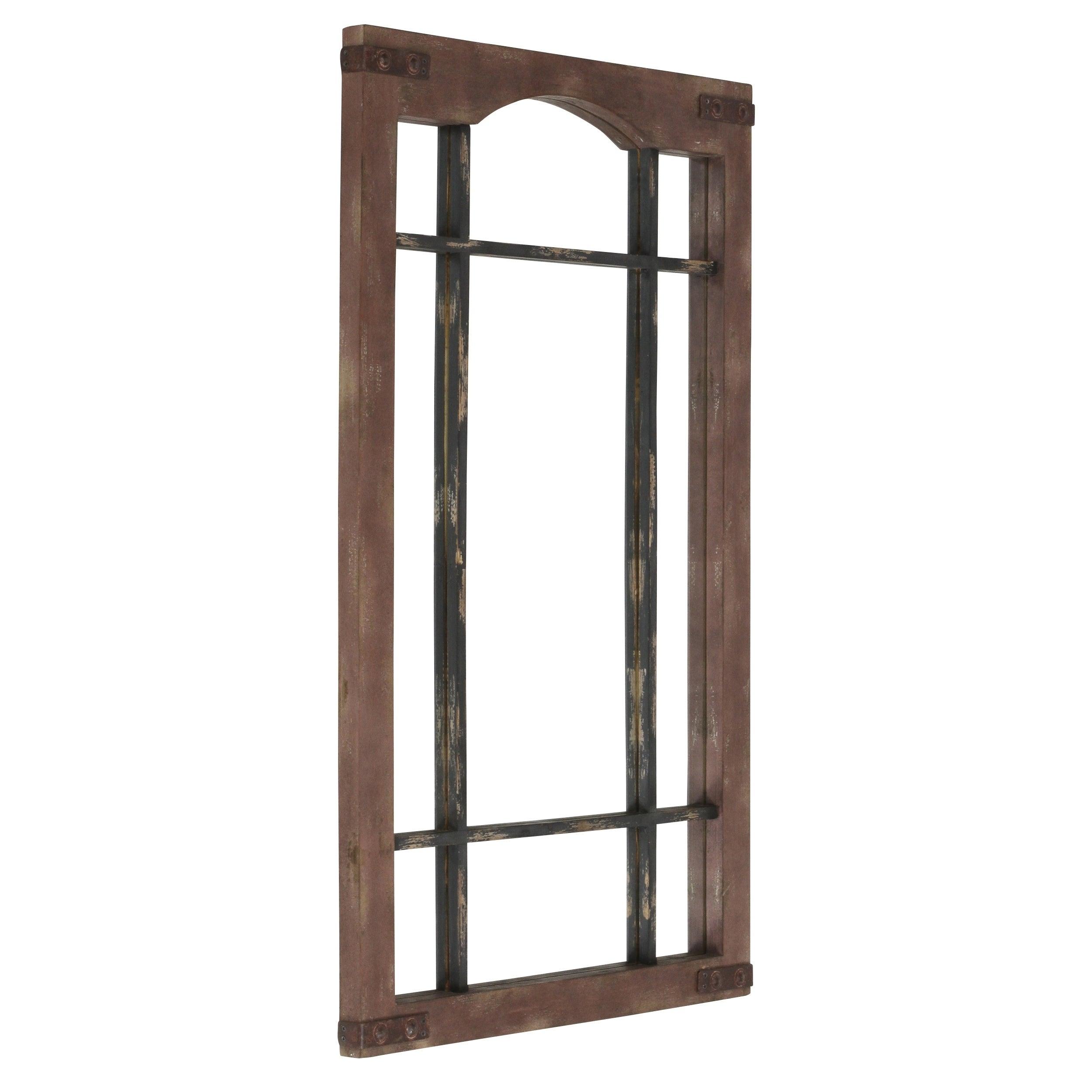 Sheridan Faux Window Wall Mirror – Brown Inside Faux Window Wood Wall Mirrors (View 10 of 20)