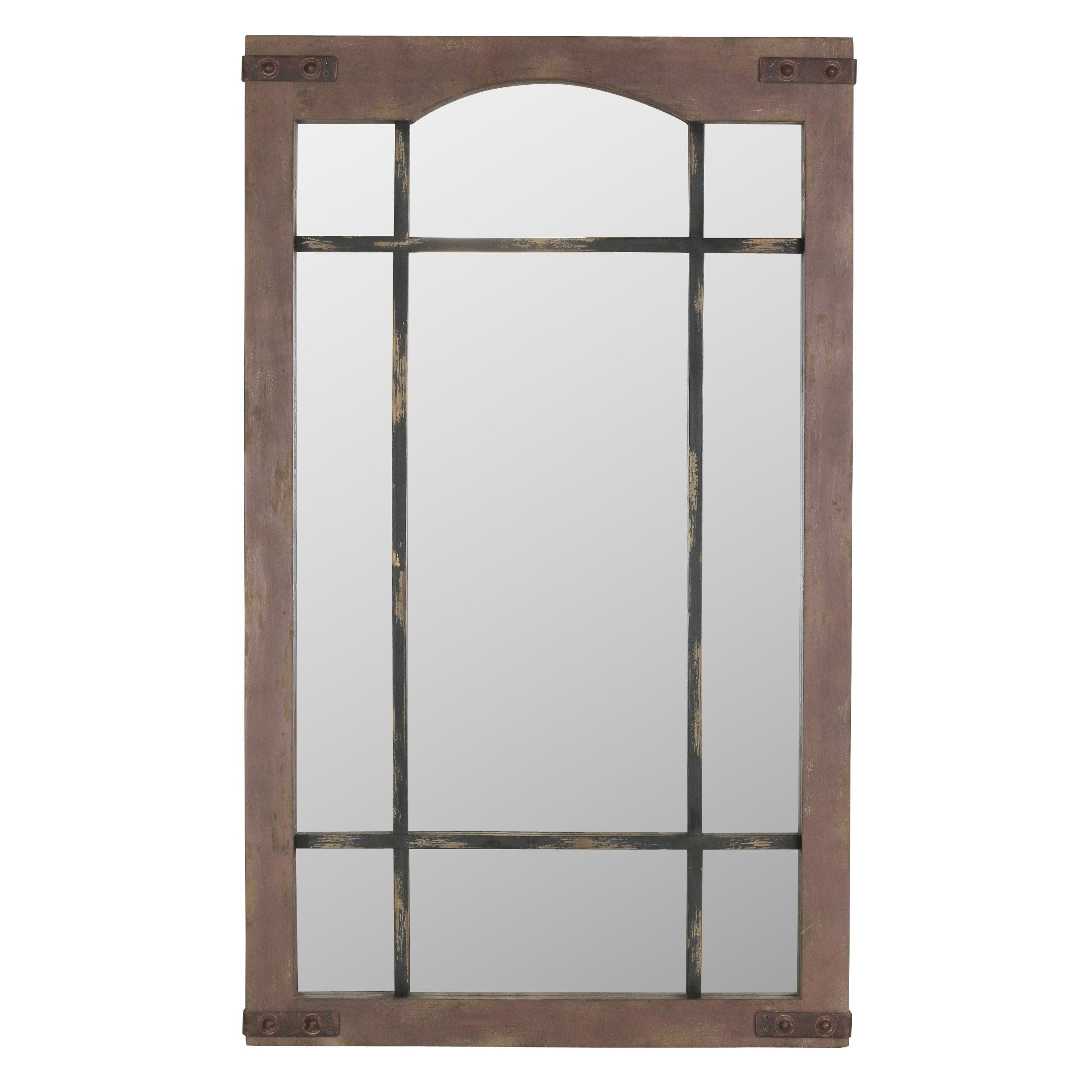 Sheridan Faux Window Wall Mirror – Brown With Regard To Faux Window Wood Wall Mirrors (View 4 of 20)