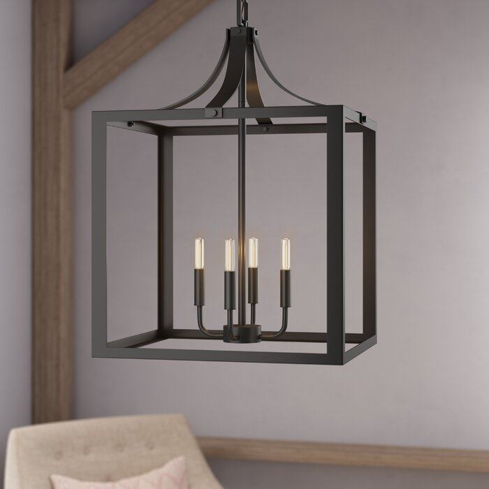 Sherri Ann 4 Light Lantern Square / Rectangle Pendant Intended For Sherri 6 Light Chandeliers (View 14 of 20)