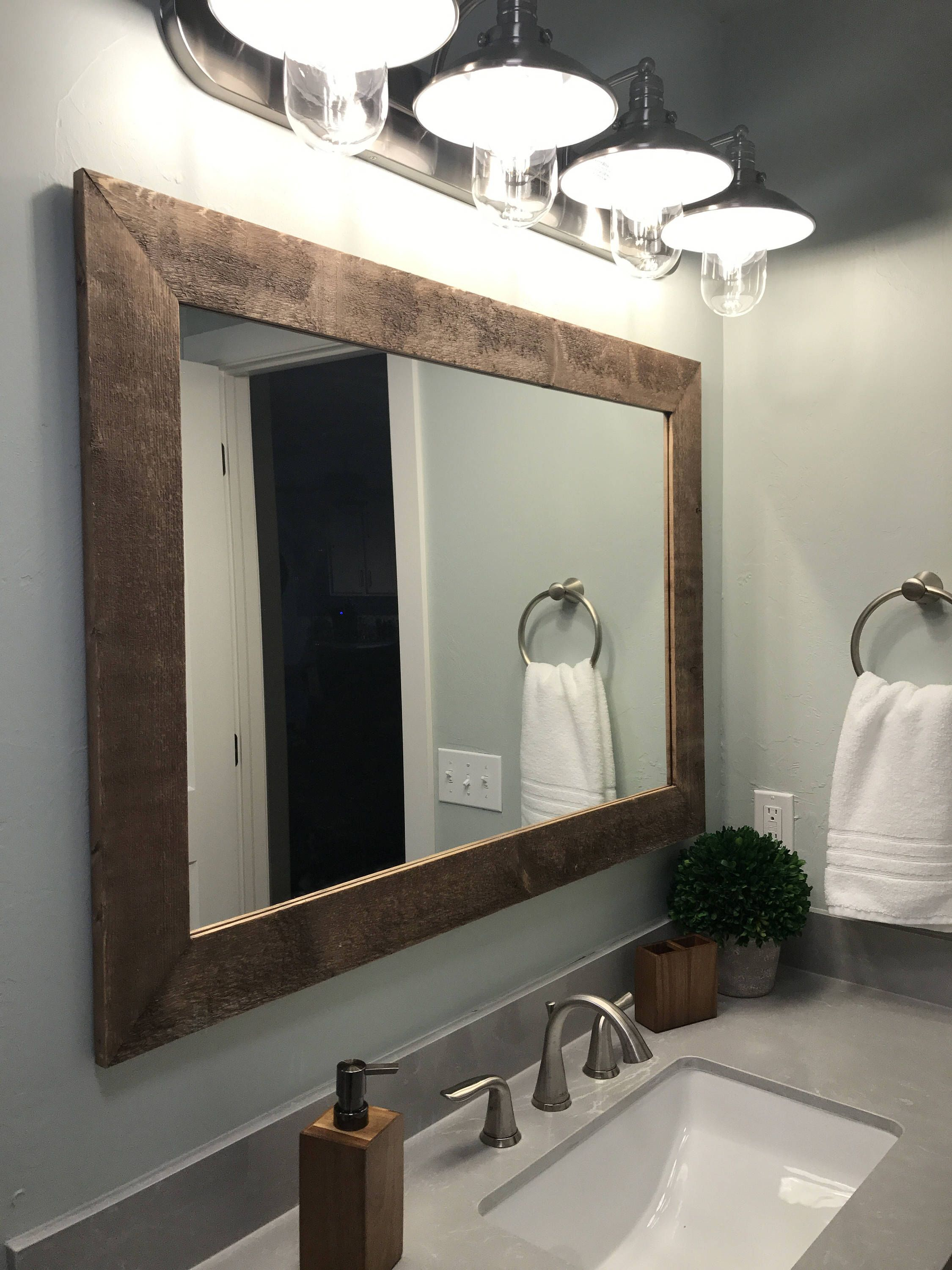 Shiplap Reclaimed Wood Mirror Shown In Special Walnut, 4 For Landover Rustic Distressed Bathroom/vanity Mirrors (Image 17 of 20)